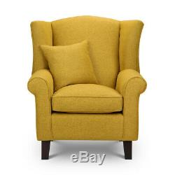 High Wing Back Armchair Tweed Fabric Chair Fireside Seat Living Room Lounge UK