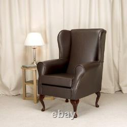 High Wing Back Fireside Chair Armchair Chestnut Brown Faux Leather Seat Easy UK