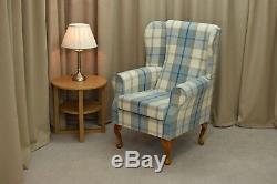 High Wing Back Fireside Chair Balmoral Blue Cream Fabric Easy Armchair Queen Ann