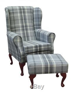 High Wing Back Fireside Chair Balmoral Dove Grey Fabric and Matching Footstool