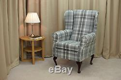 High Wing Back Fireside Chair Balmoral Dove Tartan Fabric Armchair Orthopaedic