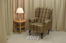 High Wing Back Fireside Chair Balmoral Heather Fabric Easy Armchair Queen Anne