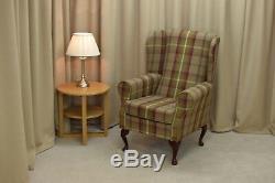 High Wing Back Fireside Chair Balmoral Heather Tartan Fabric Armchair Queen Anne