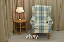 High Wing Back Fireside Chair Balmoral Sky Blue Fabric Armchair Queen Anne Legs