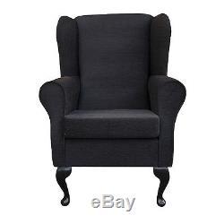 High Wing Back Fireside Chair Black Pimlico Fabric Easy Armchair Orthopaedic UK