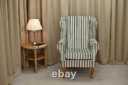 High Wing Back Fireside Chair Blue Chocolate Stripe Fabric Armchair Queen Anne