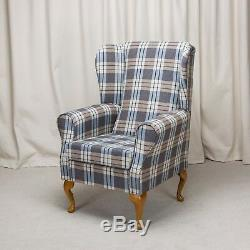 High Wing Back Fireside Chair Chambray Blue Fabric Easy Armchair Queen Anne Legs