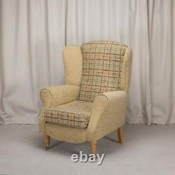 High Wing Back Fireside Chair Gold Check Fabric Easy Armchair + Front Castors UK