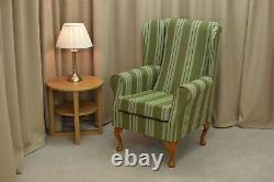 High Wing Back Fireside Chair Jura Sage Green Fabric Easy Armchair Queen Anne UK