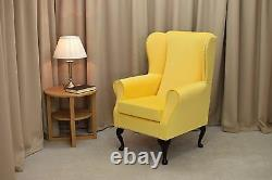 High Wing Back Fireside Chair Lemon Cambio Fabric Easy Armchair Queen Anne Legs