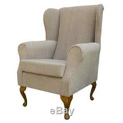 High Wing Back Fireside Chair Mink Dimple Fabric Seat Easy Armchair Queen Anne