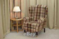 High Wing Back Fireside Chair Mulberry Tartan Fabric Armchair Queen Anne Legs UK