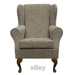 High Wing Back Fireside Chair Oatmeal Floral Fabric Easy Armchair Queen Anne Leg