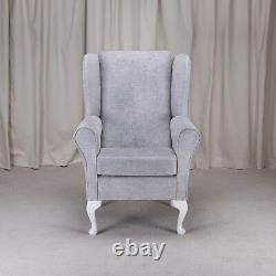 High Wing Back Fireside Chair Oleandro Silver Fabric Easy Armchair