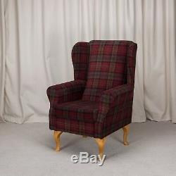 High Wing Back Fireside Chair Red Tartan Fabric Easy Armchair Queen Anne Legs UK