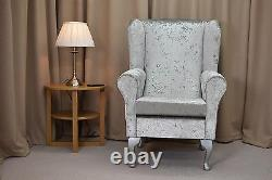High Wing Back Fireside Chair Silver Bling Fabric Easy Armchair Queen Anne Legs
