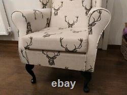 High Wing Back Fireside Chair Stag Print Fabric Seat Easy Armchair Queen Anne
