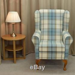 High Wing Back Fireside Chair Tartan Fabric Seat Easy Armchair Queen Anne Legs