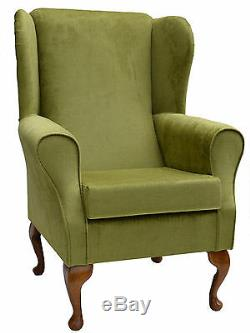 High Wing Back Fireside Chair Topaz Lime Fabric Easy Armchair Queen Anne Legs UK