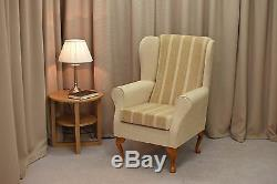 High Wing Back Fireside Chair Wheat Stripe Fabric Easy Armchair Queen Anne Legs