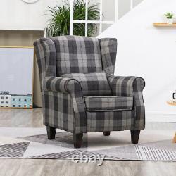 High Wing Back Orthopaedic Fireside Tub Chair Tartan Fabric Armchair Upholstered