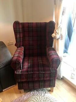 High Wing Back Queen Anne Fireside Armhair Red Tartan Fabric Armchair