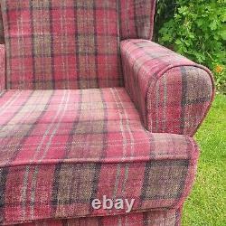 High Wing Back Queen Anne Fireside Armhair Red Tartan Fabric Armchair Sherlock