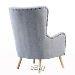 High Wing Back Upholster Accent Studded Armchair Sofa Cushion Footstool Fireside