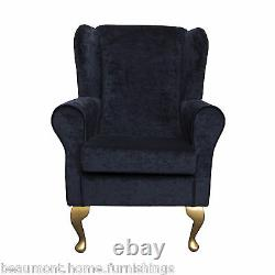 High Wingback Fireside Black Pastiche Fabric Seat Easy Armchair Queen Anne Legs
