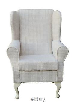 High Wingback Fireside Chair Brick Cream Luxury Velvet Fabric Seat Easy Armchair