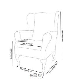 High Wingback Fireside Chair Claret Fabric Seat Easy Armchair Queen Anne Legs