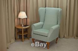 High Wingback Fireside Chair Duck Egg Fabric Seat Easy Armchair Queen Anne Legs