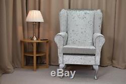 High Wingback Fireside Chair Silver Fabric Seat Easy Armchair Queen Anne Legs