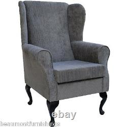 High Wingback Fireside Chair Slate Fabric Seat Easy Armchair Queen Anne Legs