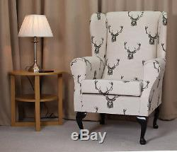 High Wingback Fireside Chair Stag Print Fabric Seat Easy Armchair Queen Anne Leg