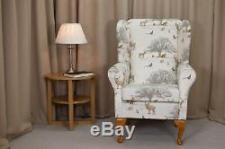 High Wingback Fireside Chair Tatton Autumn Print Fabric Seat Easy Armchair