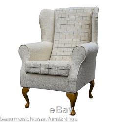 High Wingback Fireside Checkered Stone Fabric Seat Easy Armchair Queen Anne Legs