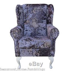 High Wingback Fireside Lavender Fabric Seat Easy Armchair Queen Anne Legs UK