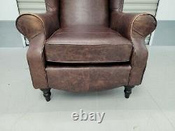 Hsl'glenmore' Distressed Brown Leather Wingback Chair Wing Back, Fireside