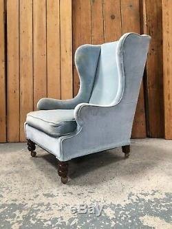 Large Vintage Victorian Wingback Fireside Armchair in Light Blue Upholstery