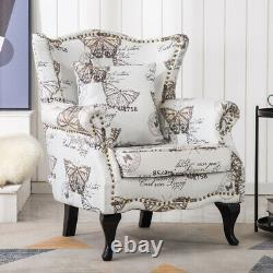Latte Butterfly Chair Fabric High Back Fireside Armchair Bedroom Sofa Wing Seat