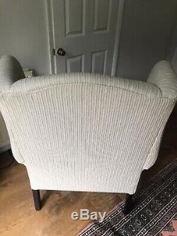 Laura Ashley Denbigh High Back Wingback Fireside Chair Off White Cream Stripe