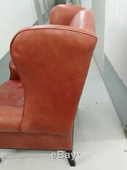 Laura Ashley'denbigh' Armchair Tan/brown Leather Wing Back Chair, Fireside