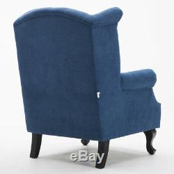 Leather/Wool-look Fabric Armchair Wing Chair High Back Orthopedic Fireside Seat