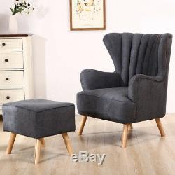 Leisure Nap Chairs Upholstered Fireside Armchair Fabric Sofa With Footstool Home
