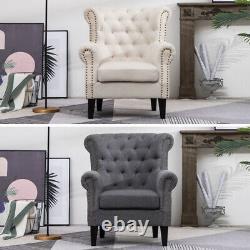 Linen Fabric Chesterfield High Back Wing Chair Fireside Armchair Button Studded