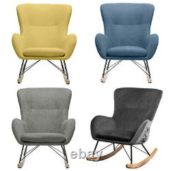 Linen Fabric Velvet Armchair Rocking Wing Back Chair Accent Relax Fireside Sofa