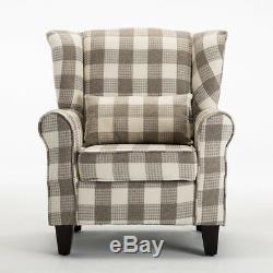 Linen Fabric Wing Back Occasional Lounge Accent Chair Armchair Fireside Lounge
