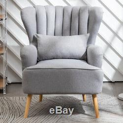 Linen Fabric Wingback Armchair Upholstered Fireside Sofa Chair with Footstool