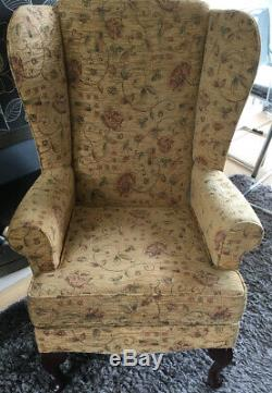 Lovely Sherbourne Gold Floral Wingback Chenille Fireside Chair Good Condition
